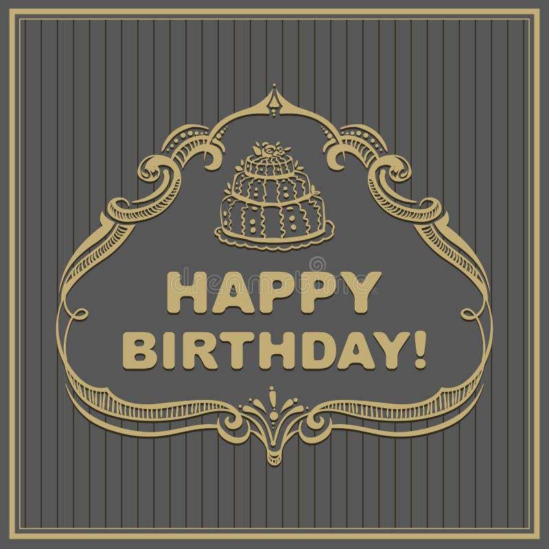 кролик подарка поздравительой открытки ко дню рождения Торт в рамке иллюстрация вектора