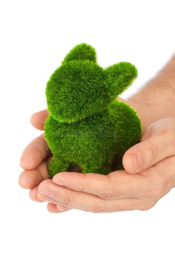 Кролик сделанный травы в руках стоковое изображение rf