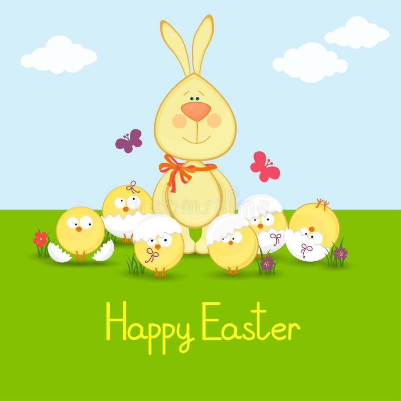 Кролик с смешной иллюстрацией chickens.easter. бесплатная иллюстрация