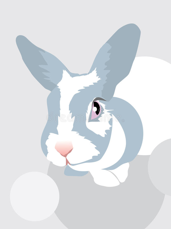 Кролик упал страх глаза зайчика испуга животный иллюстрация вектора