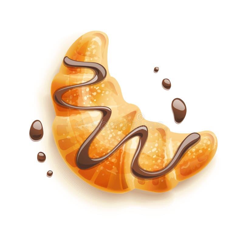 Круасант с шоколадом Традиционные французские хлебобулочные изделия также вектор иллюстрации притяжки corel бесплатная иллюстрация