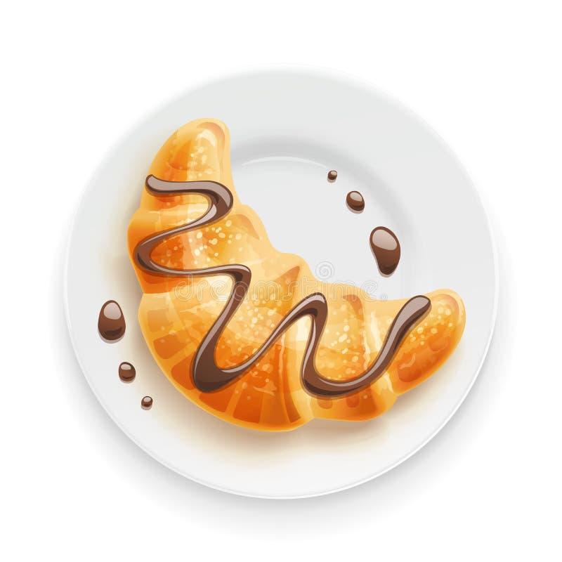 Круассан с шоколадом на плите Традиционные французские хлебобулочные изделия также вектор иллюстрации притяжки corel бесплатная иллюстрация