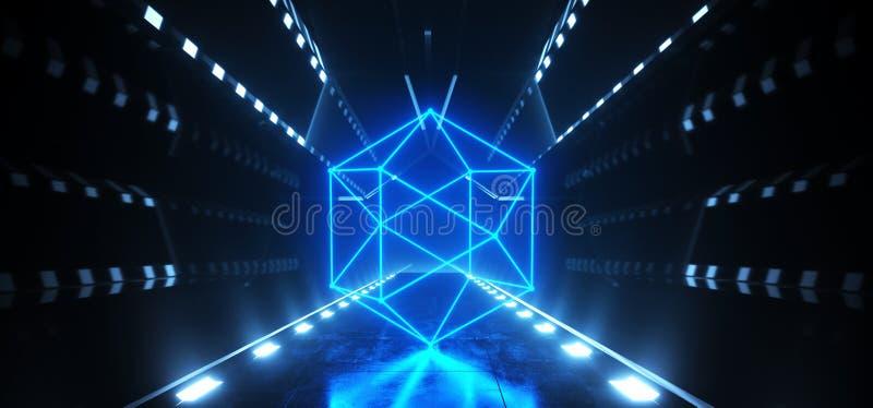 Круга космического корабля Sci Fi чужеземца отражать абстрактных неоновых лазерных лучей футуристического накаляя белый голубой н иллюстрация вектора