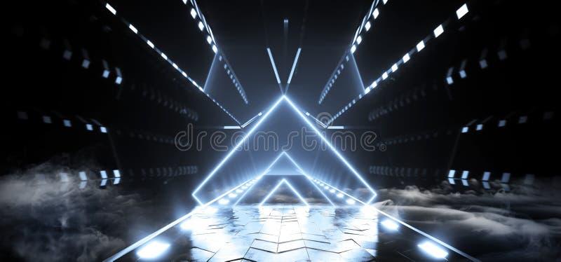 Круга космического корабля Sci Fi чужеземца тумана дыма отражать неоновых лазерных лучей треугольника футуристического накаляя бе иллюстрация штока