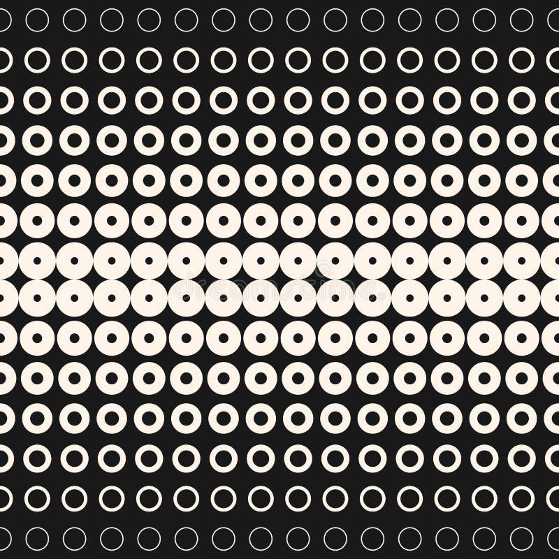 Круги и кольца полутонового изображения Monochrome геометрическая безшовная картина иллюстрация вектора