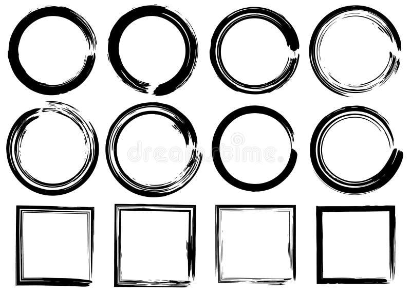Круги и прямоугольники вектора Grunge ходы комплекта щетки бесплатная иллюстрация