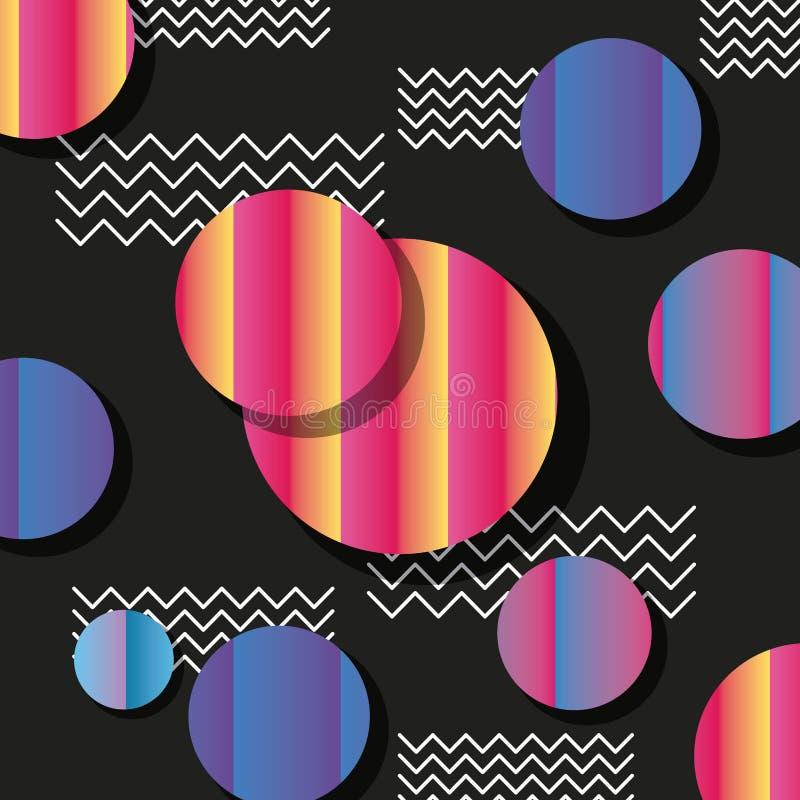 Круги картины стиля Мемфиса и предпосылка зигзага черная бесплатная иллюстрация