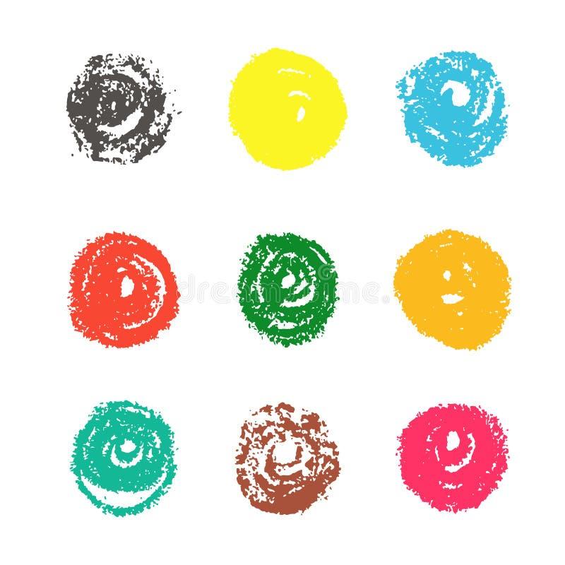 Круги мела Grunge красочные иллюстрация вектора