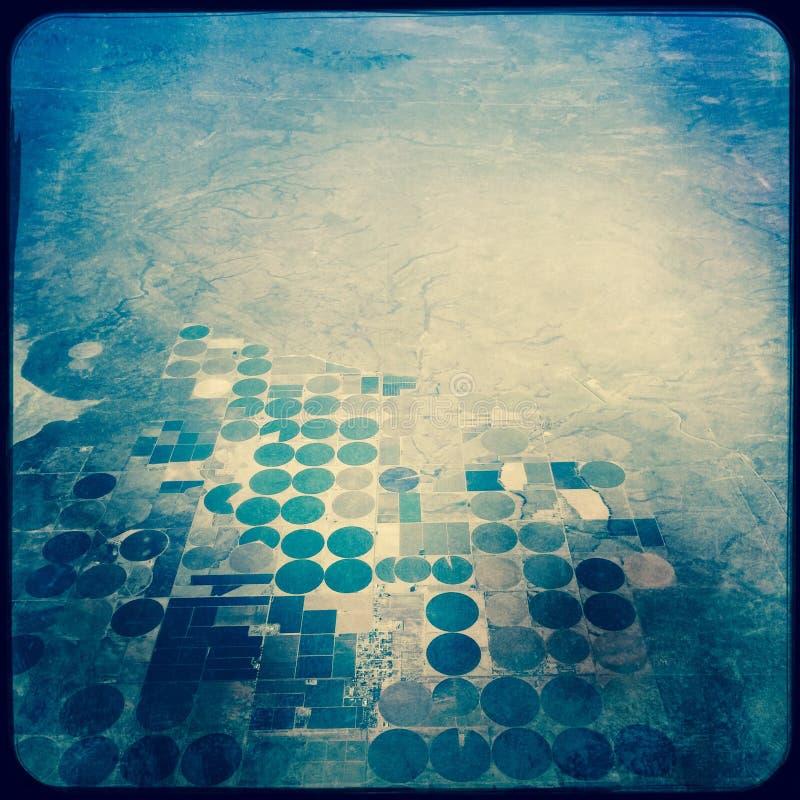 Круги полива оси центра пустыни Невады стоковые фотографии rf