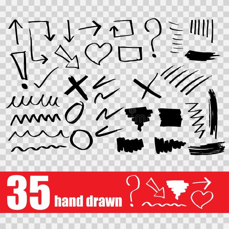 Круги стрелок и абстрактный комплект дизайна сочинительства doodle бесплатная иллюстрация