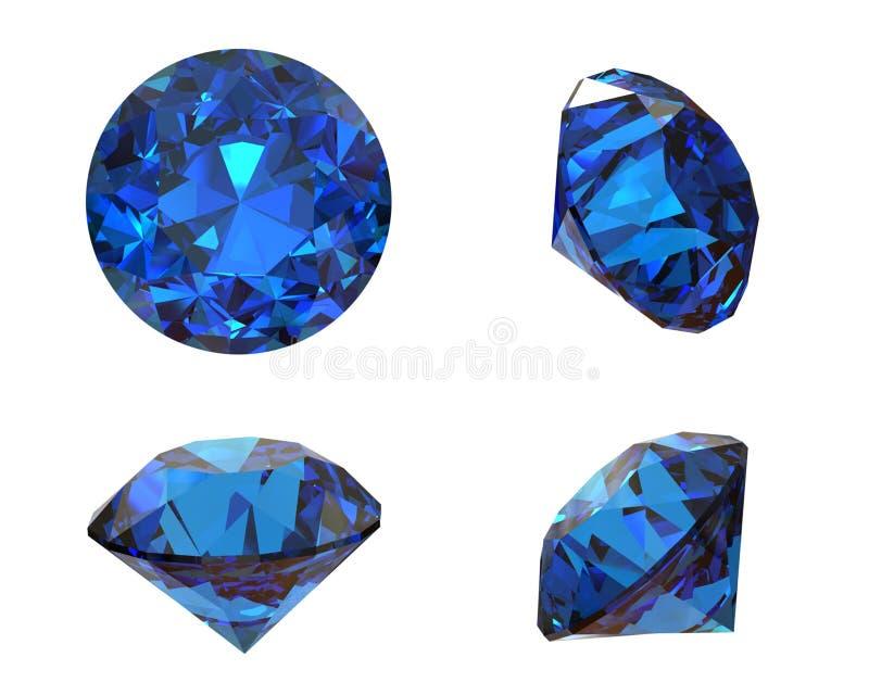 Круглая голубая драгоценная камень на белой предпосылке. Benitoit. Сапфир. Io стоковое изображение rf