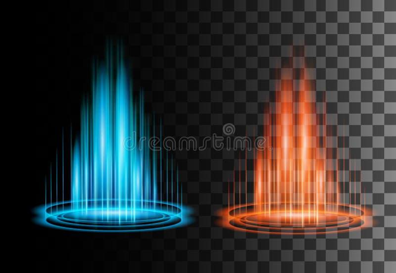Круглая голубая и красная сцена ночи лучей зарева с искрами на прозрачной предпосылке Пустой подиум светового эффекта Волшебный п иллюстрация штока