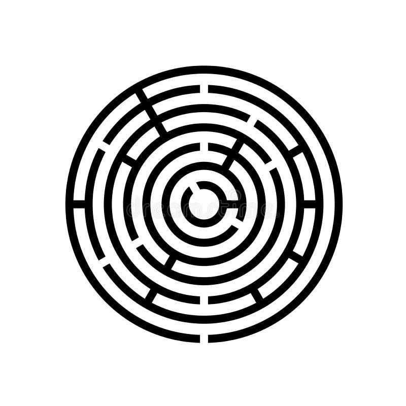Круглая иллюстрация EPS10 вектора игры лабиринта лабиринта иллюстрация вектора