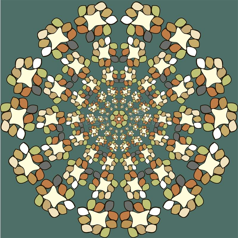 Круглая картина орнамента Винтажные элементы иллюстрация штока