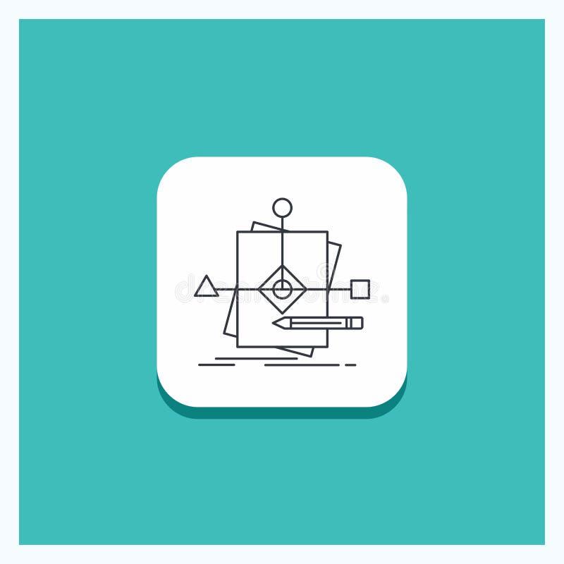 Круглая кнопка для алгоритма, дела, предсказывая, картины, линии предпосылки плана бирюзы значка бесплатная иллюстрация