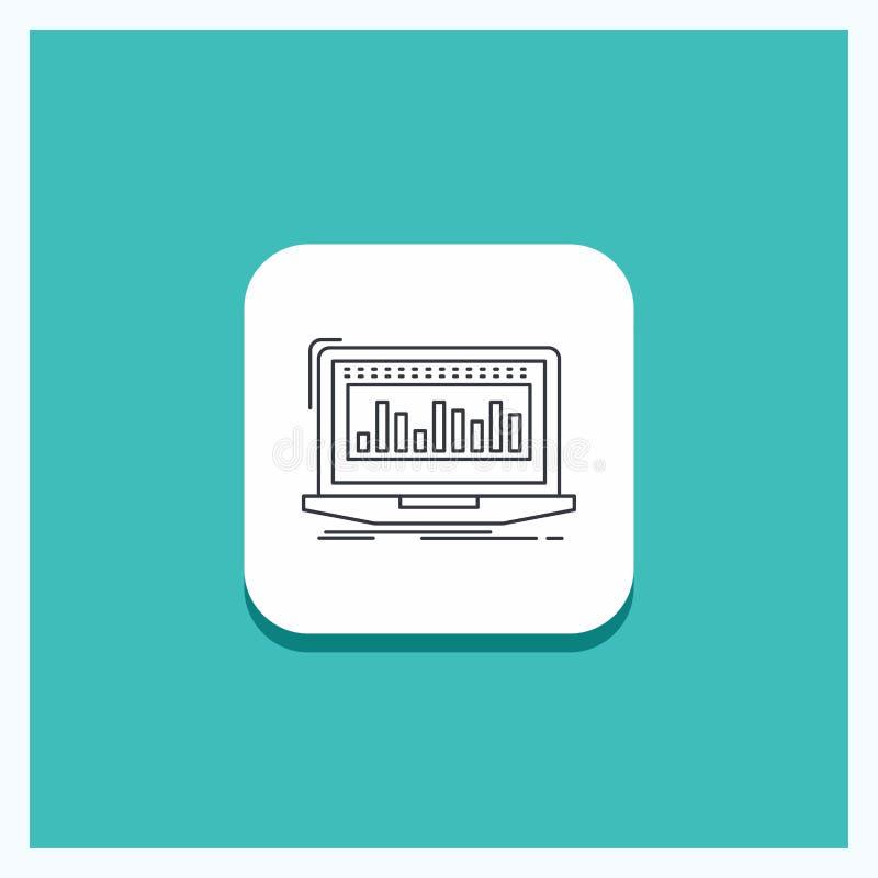 Круглая кнопка для данных, финансовая, индекс, контроль, предпосылка бирюзы значка ассортимента запасов иллюстрация вектора