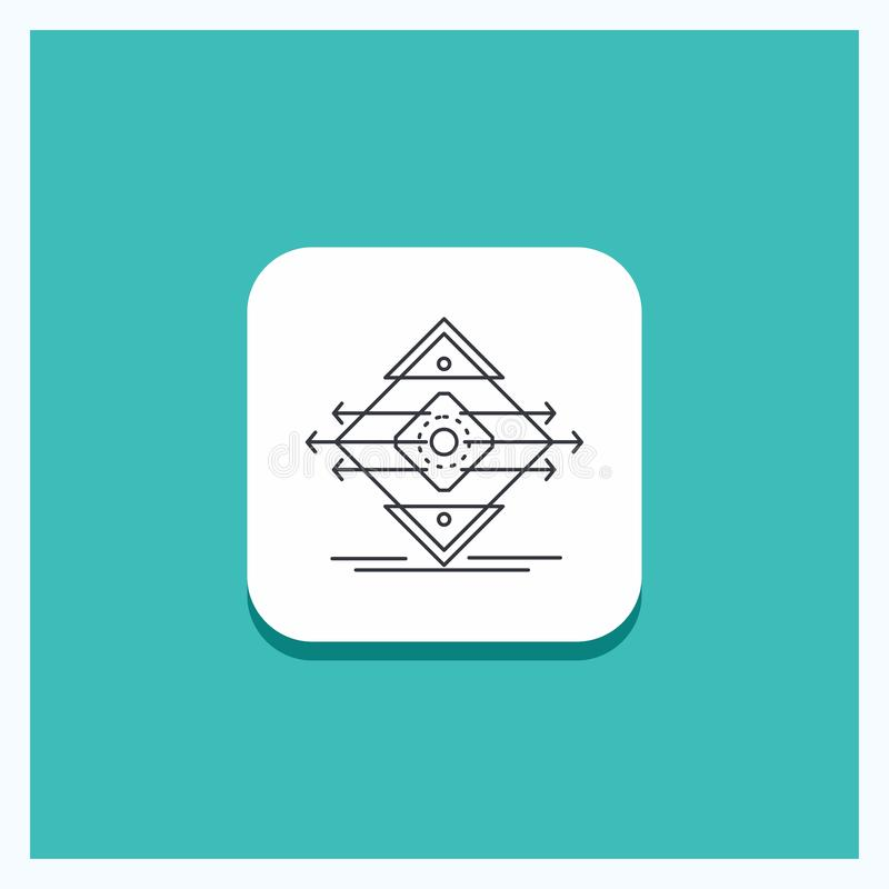 Круглая кнопка для движения, майна, дорога, знак, линия предпосылка безопасности бирюзы значка иллюстрация штока