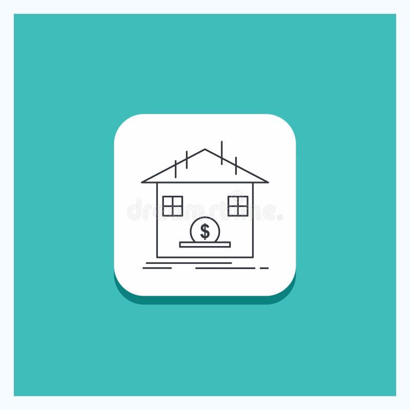 Круглая кнопка для депозита, сейфа, сбережений, возмещения, линии банка предпосылки бирюзы значка бесплатная иллюстрация