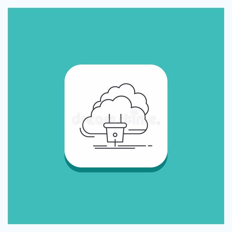 Круглая кнопка для облака, соединения, энергии, сети, предпосылки бирюзы значка линии электропередач иллюстрация вектора