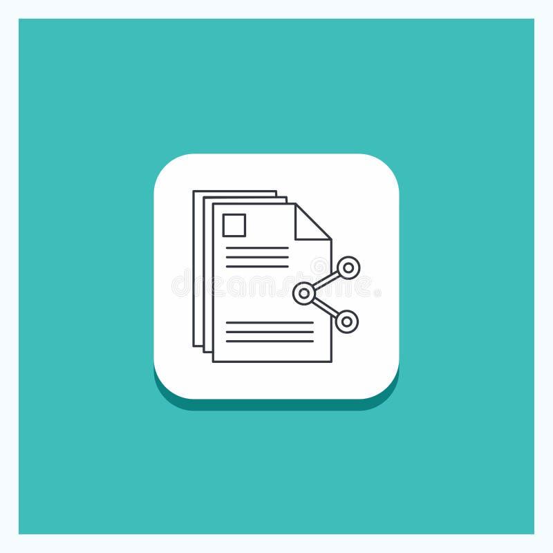 Круглая кнопка для содержания, файлов, деля, доли, линии предпосылки документа бирюзы значка иллюстрация штока