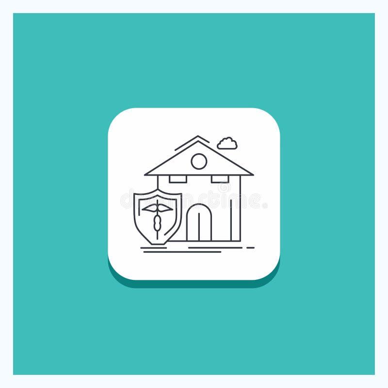 Круглая кнопка для страхования, дома, дома, потерь, линии предпосылки защиты бирюзы значка иллюстрация вектора