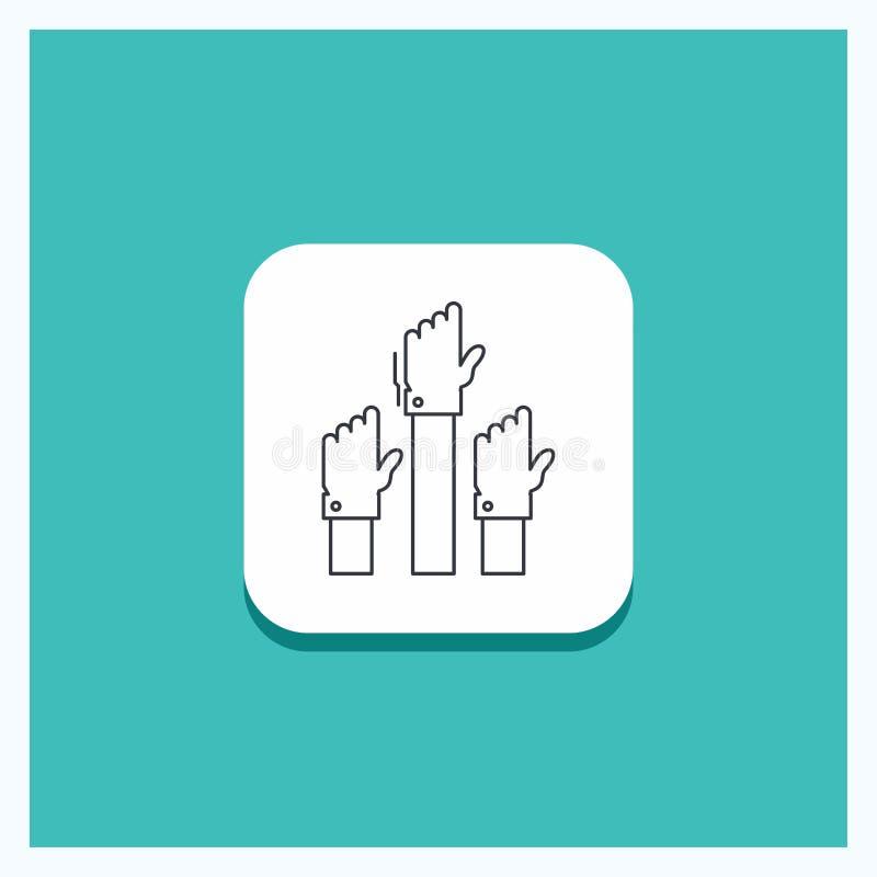 Круглая кнопка для устремленности, дела, желания, работника, умышленной линии предпосылки бирюзы значка иллюстрация вектора