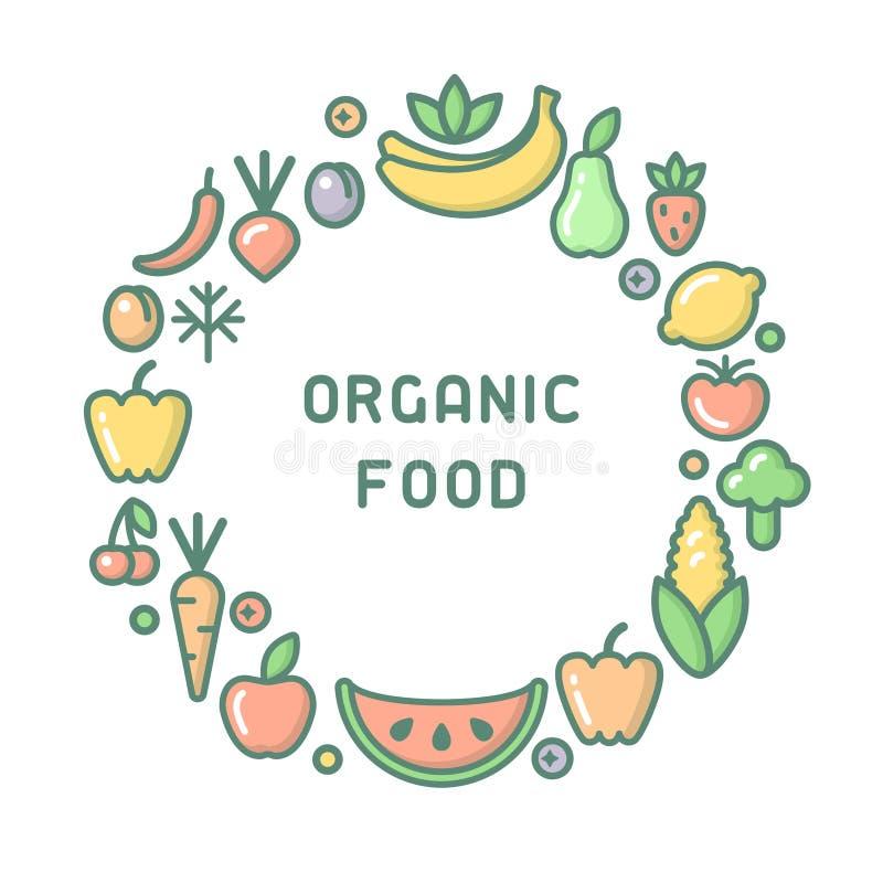 Круглая концепция формы с фруктами и овощами бесплатная иллюстрация