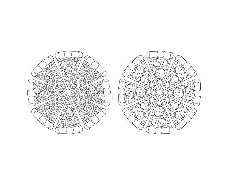 Круглая пицца изолированная на белой предпосылке иллюстрация штока