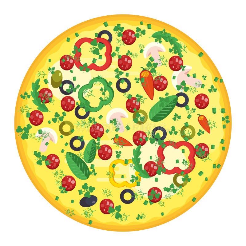 Круглая пицца с сосиской иллюстрация штока