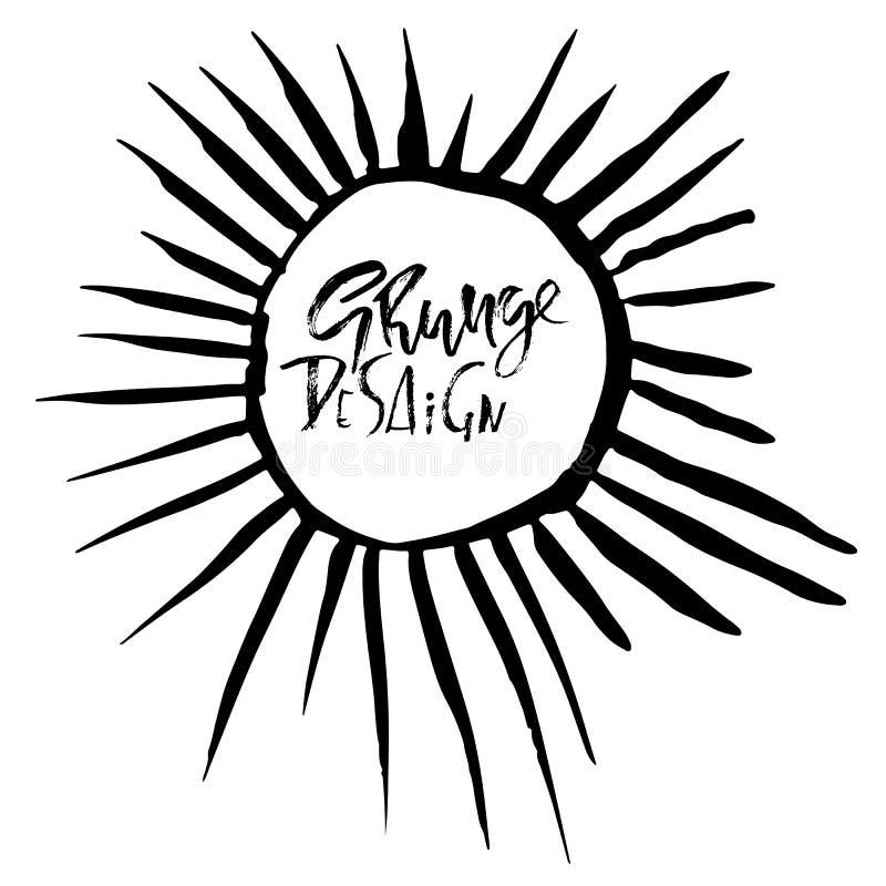 Круглая рамка вектора grunge Солнце излучает картину Предпосылка Grunge бесплатная иллюстрация