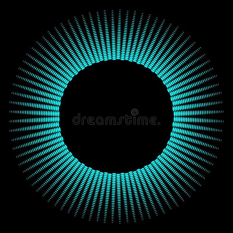 Круглая рамка голубых лучей на черной предпосылке Дизайн для клуба, партии, приглашения Абстрактная неоновая предпосылка для ваше иллюстрация штока