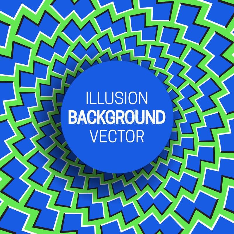 Круглая рамка на голубой зеленой предпосылке обмана зрения двигая форм иллюстрация вектора