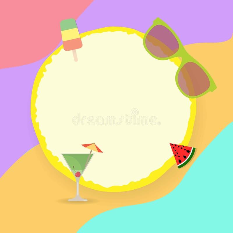 Круглая рамка со стеклом popsicle, солнечных очков, арбуза и коктейля бесплатная иллюстрация