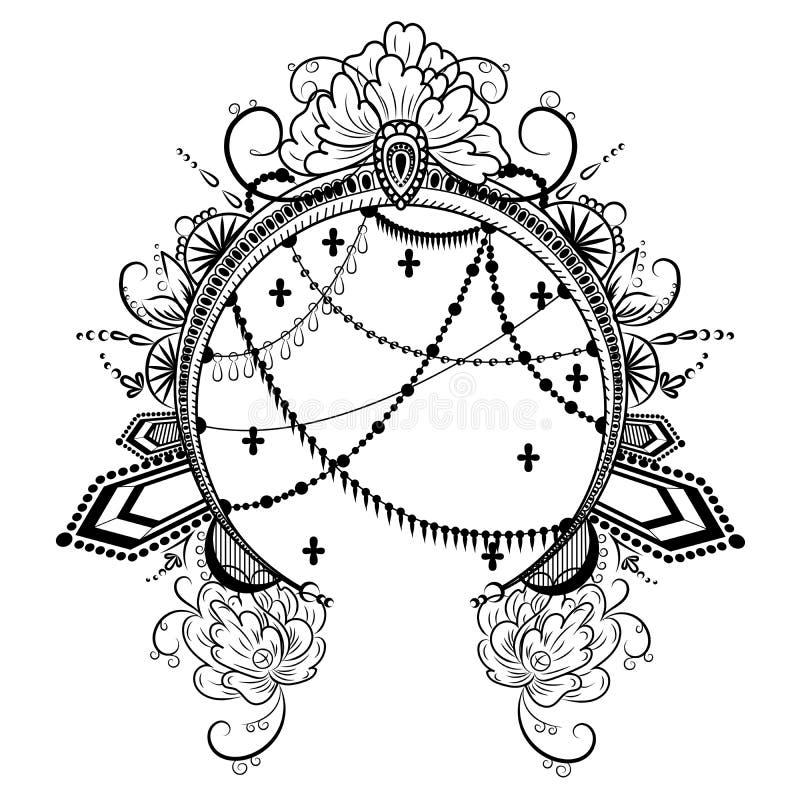 Круглая рамка с декоративными диамантами и цепями цветков объектов бесплатная иллюстрация
