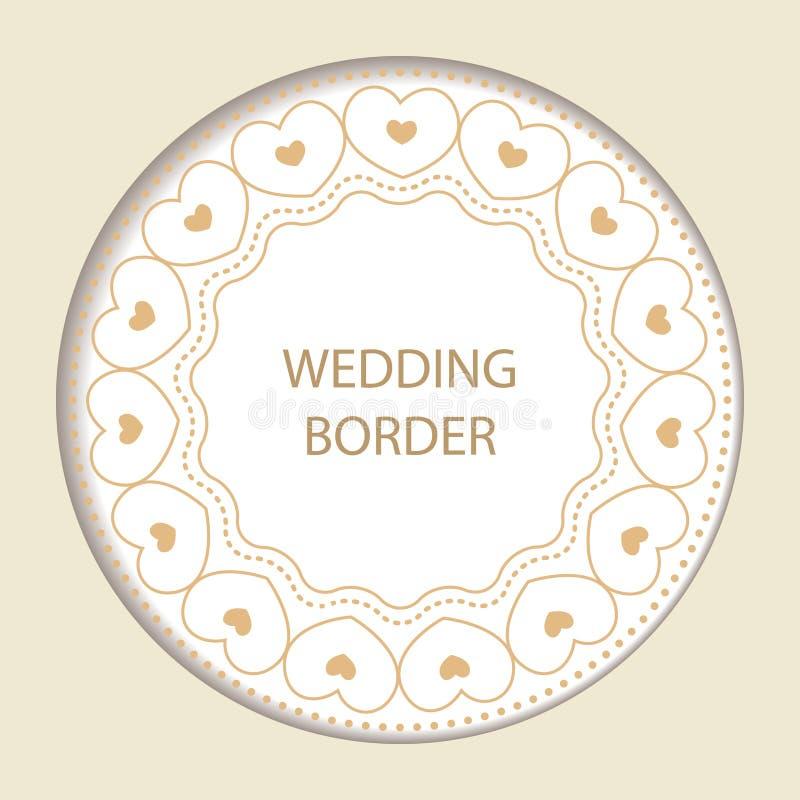 Круглая рамка с декоративными элементами Карточка свадьбы с золотом иллюстрация вектора