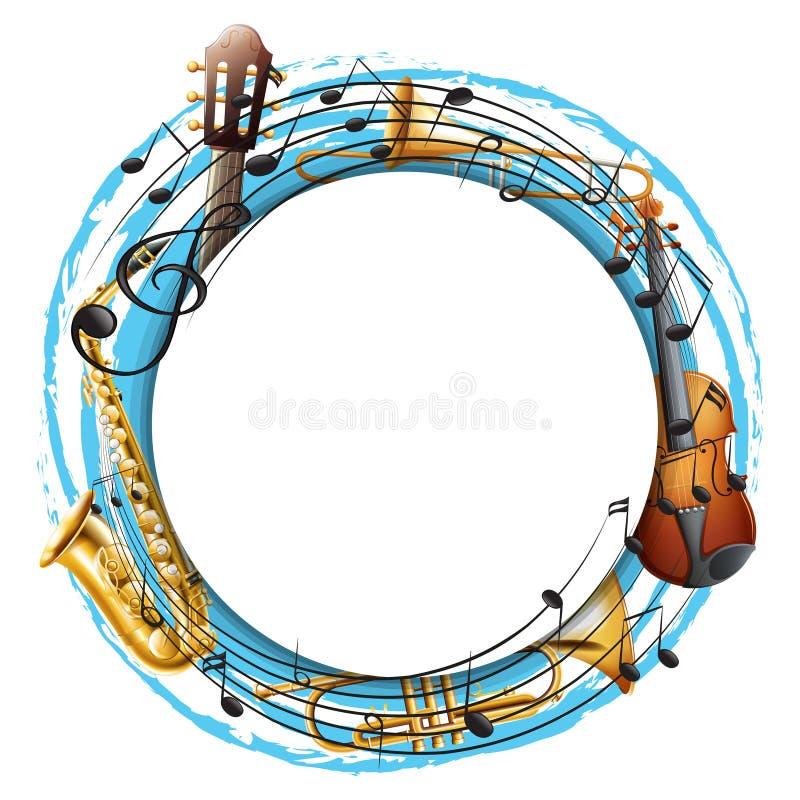 Круглая рамка с музыкальными инструментами иллюстрация штока