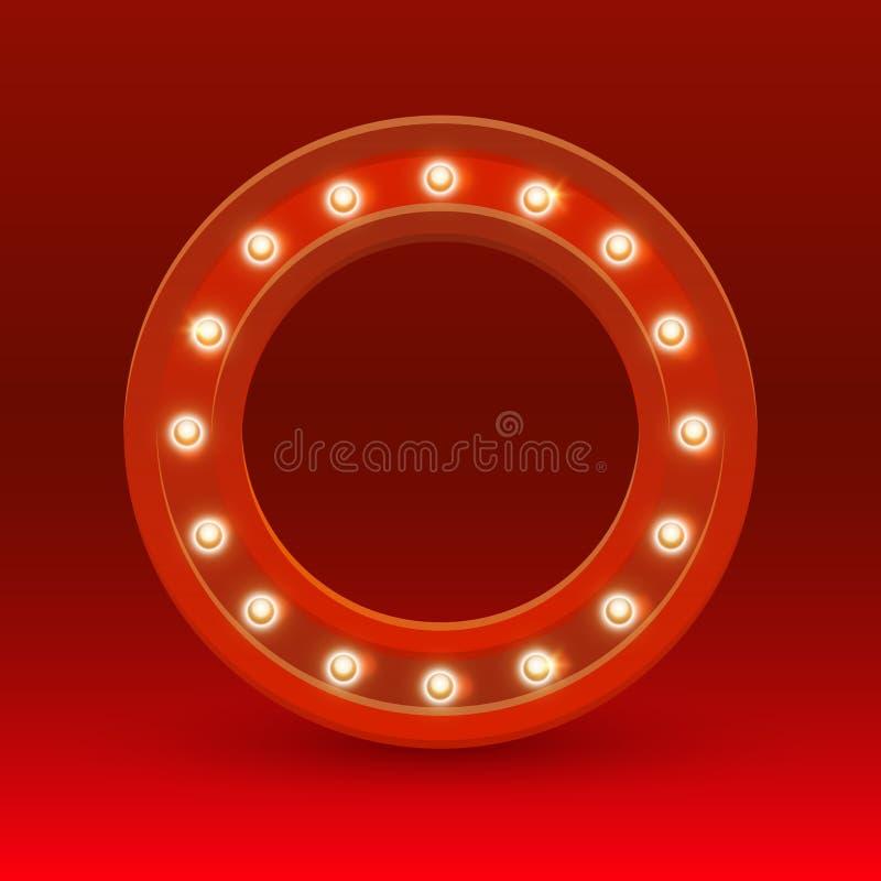 Круглая рамка с электрическими лампочками иллюстрация штока
