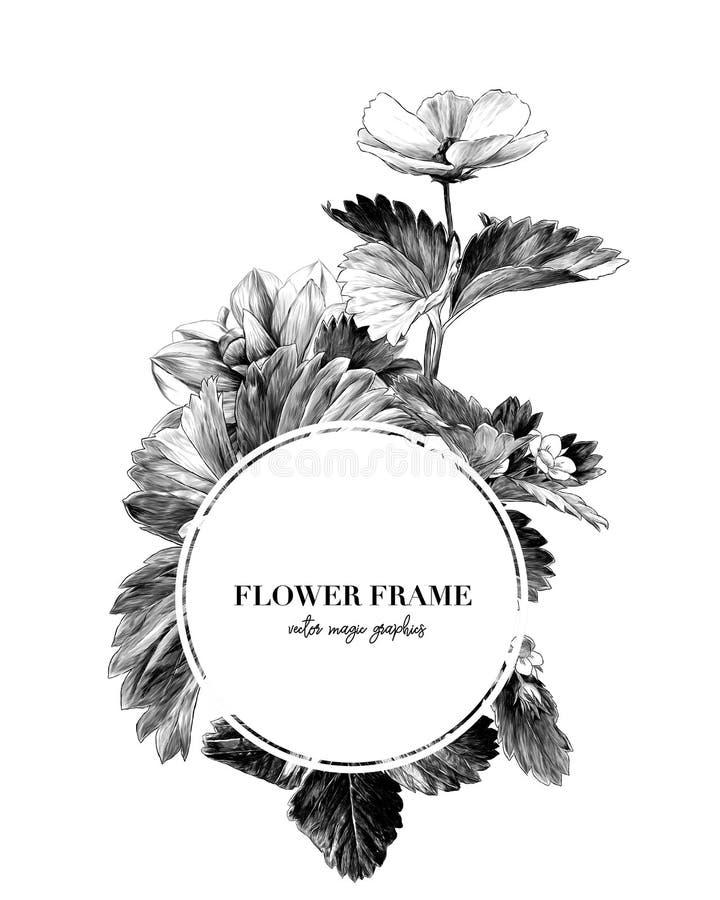 Круглая рамка украшенная с цветками и листьями клубники иллюстрация вектора