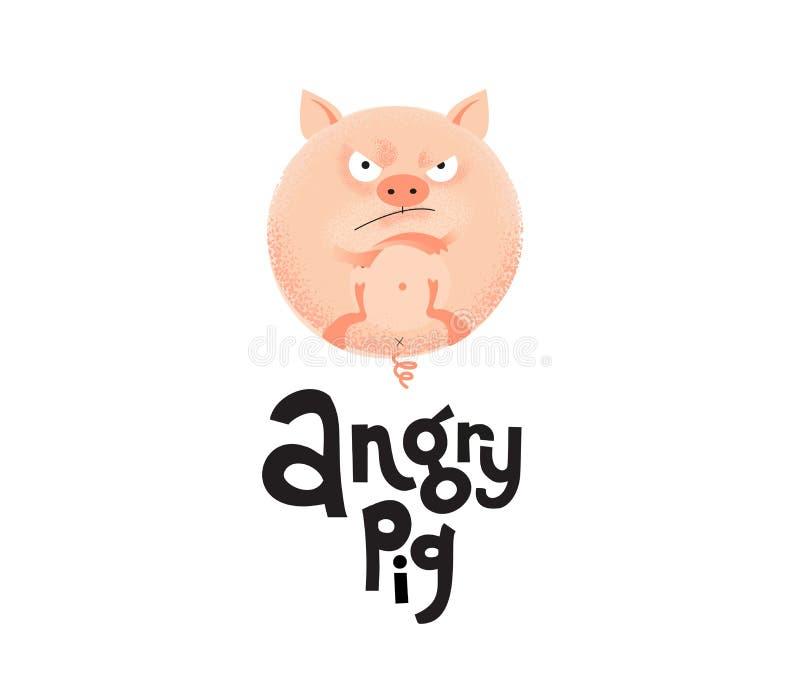 Круглая сердитая свинья цвета плоти лежит на своей задней части со своей пересеченной лапкой Уникальная плоская текстурированная  бесплатная иллюстрация