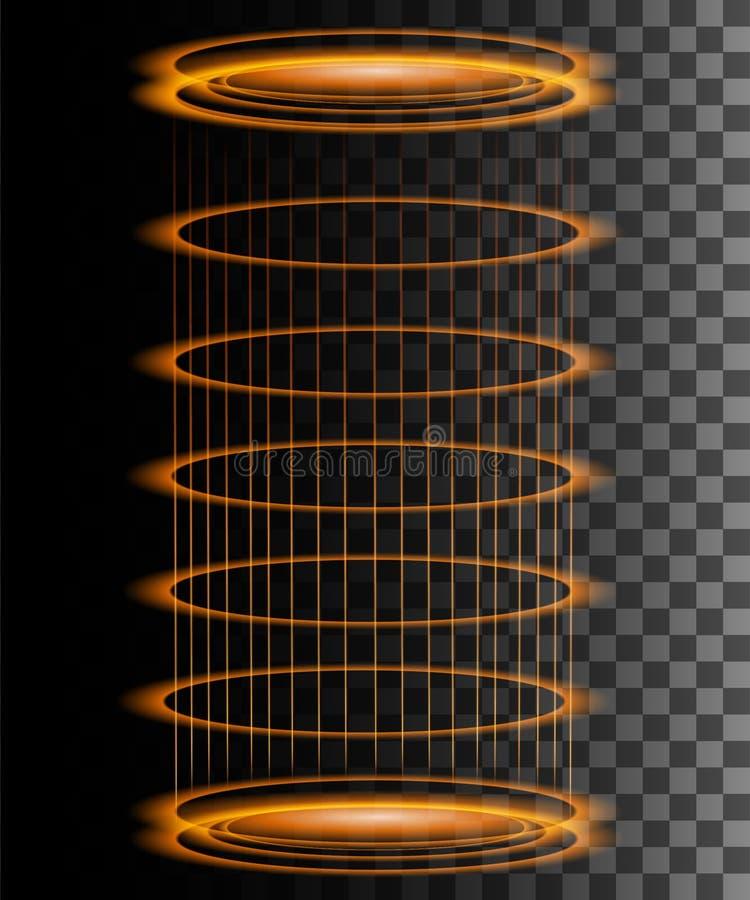 Круглая сцена ночи лучей оранжевого зарева с искрами на прозрачной предпосылке Пустой подиум светового эффекта Волшебный портал ф бесплатная иллюстрация