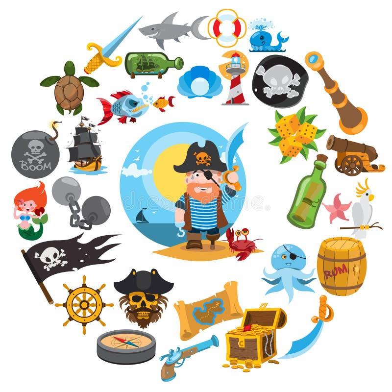 Круглая тема пирата состава иллюстрация вектора