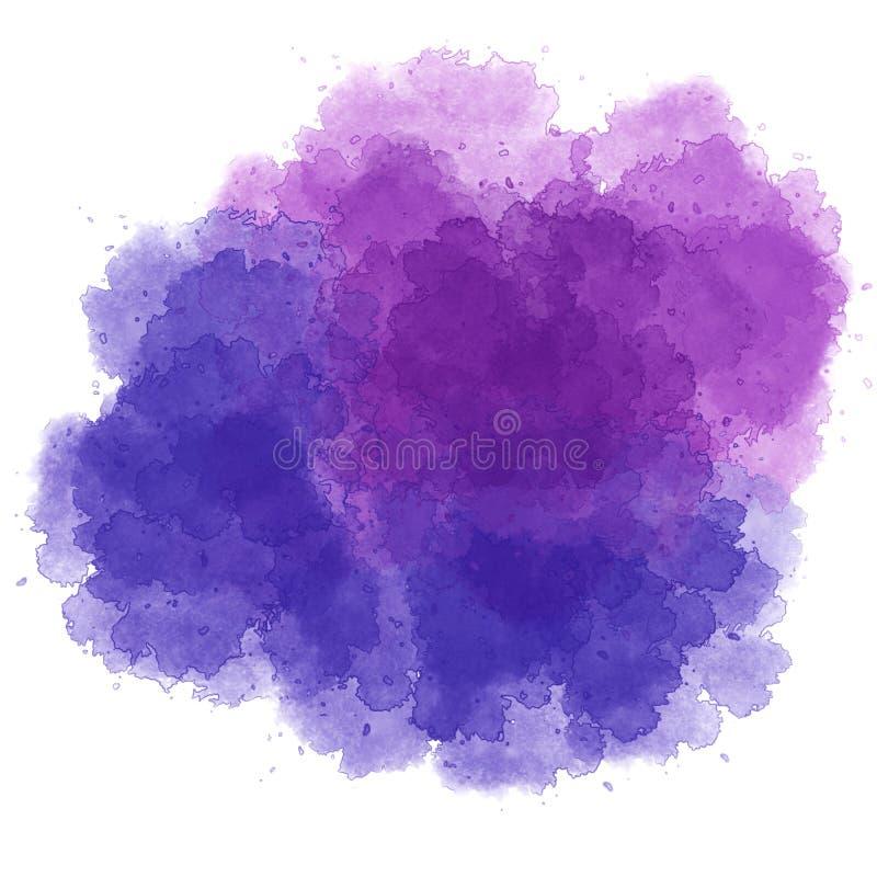 Круглая форма пятна акварели фиолетов-голубая иллюстрация штока