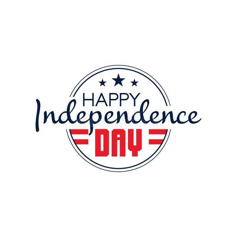 Круглая monochrome эмблема США с Днем независимости текста счастливым 4-ое июля Значок национального праздника Плоский дизайн век иллюстрация вектора