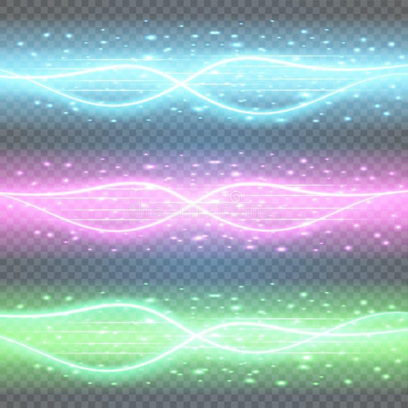 Круглое голубое свечение излучает сцену ночи с искрами на прозрачной предпосылке Пустой подиум светового эффекта Танец клуба диск бесплатная иллюстрация