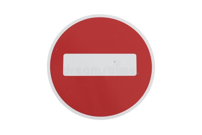 Круглое красное ` дорожного знака отсутствие ` входа изолированного на белизне стоковое фото rf