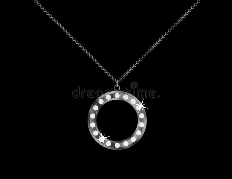 Круглое ожерелье диаманта иллюстрация штока