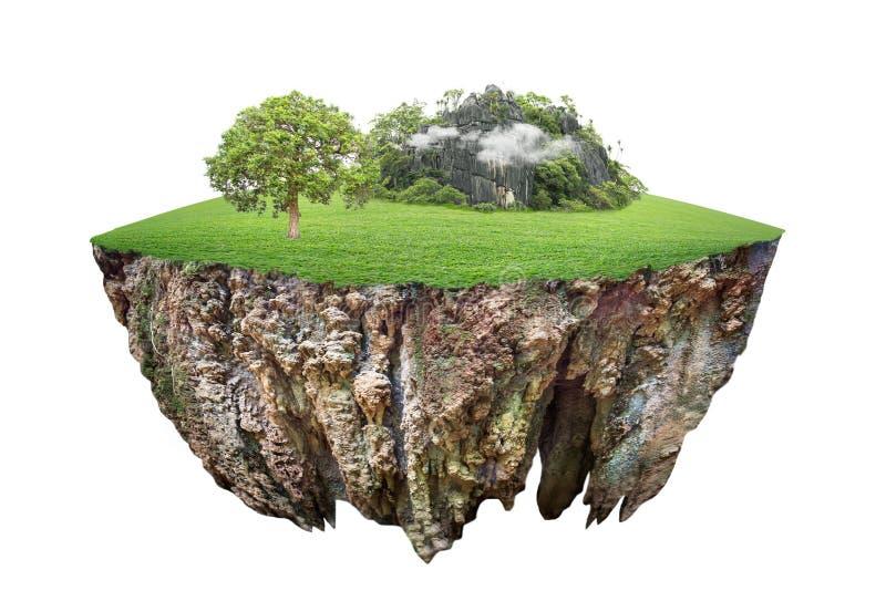 Круглое поперечное сечение земли почвы с землей земли и зеленой травой стоковые фотографии rf
