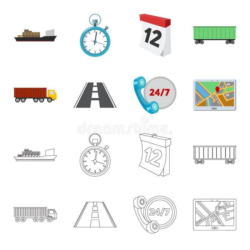 Круглосуточно, дорога, тележка, JPS Loqistic, установило значки собрания в шарже, запасе символа вектора стиля плана бесплатная иллюстрация