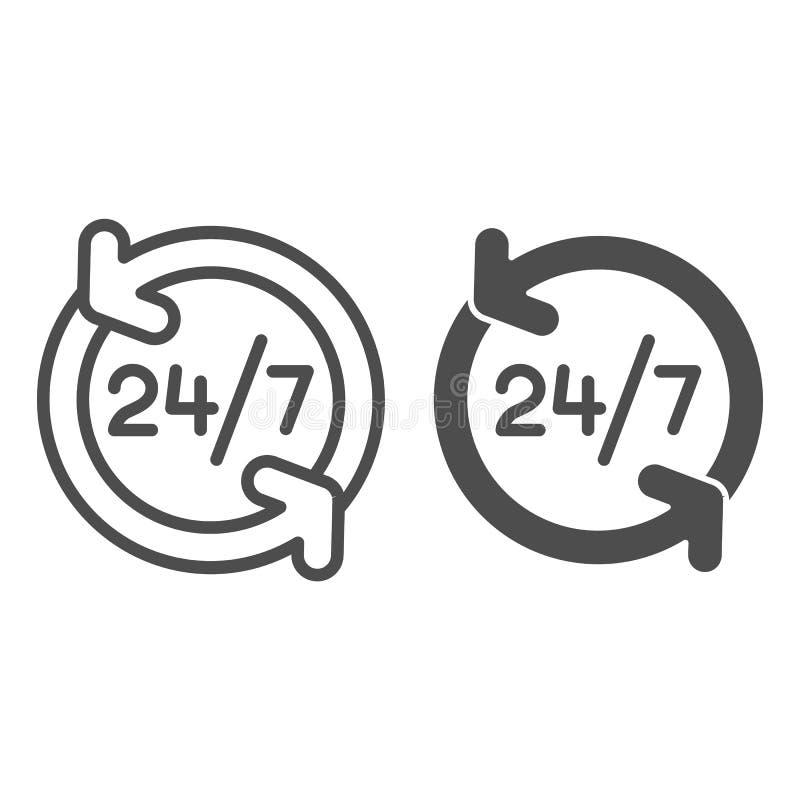 Круглосуточно линия и значок глифа 24 обслуживания часа иллюстрации вектора изолированной на белизне Открытый весь день стиль пла иллюстрация штока