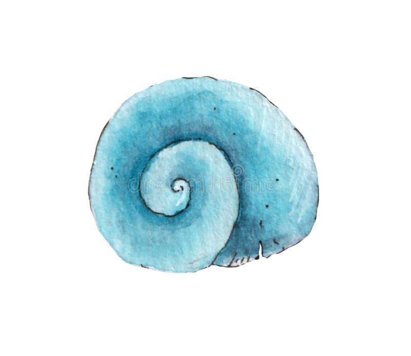 Кругло-синий ракуш, окрашенный в акварельный цвет на белом фоне иллюстрация вектора